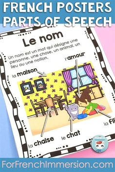 Want a visual reference tool for your students to identify parts of speech in French? Check out this set of French posters for your kids learning French as a second language. For French Immersion and Core French classrooms. French grammar. AFFICHES: Les classes de mots (le nom, l'adjectif, la conjonction, le verbe, la préposition, le pronom, l'adverbe, le déterminant)