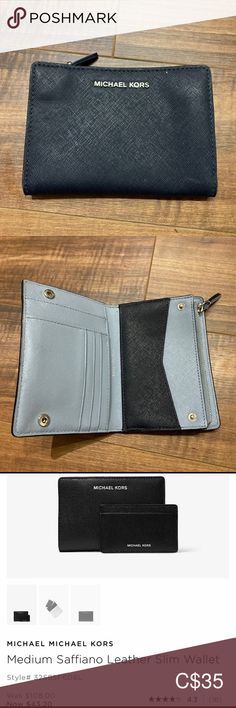 Two tone slim wallet from Michael Kors Navy and Tiffany blue slim wallet with card holder (card holder picture to be added later).