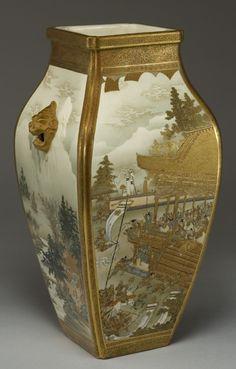 Four-sided Satsuma vase - Unzan signature