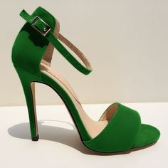 Ladies Sexy Open Toe High Heels Stilettos Ankle Strap Wedges Sandals Green Suede
