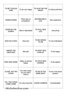 Common Idioms Memory Worksheet   Free ESL Printable Worksheets Made By  Teachers
