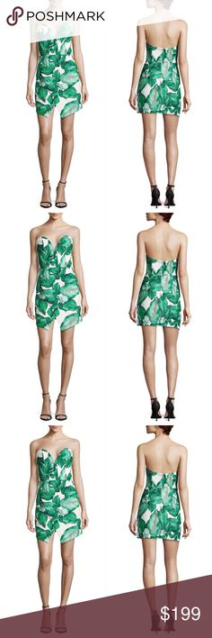 C/MEO Palm Leaf Strapless Dress New without tags in Excellent Condition/ No Trades/ No Offline Transactions/ Smoke & Pet Free Home/ Please Ask Questions!/ Like what you see but the price too high? Make an offer! / offers on bundles are welcome! C/MEO Collective Dresses Strapless