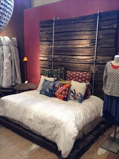 Bed frame and headboard made from old Railroad Ties