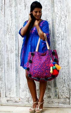 Pom Pom bags/Tassels beach bag/PomPom beacg bag/Boho by JavaSpirit Pom Pom Purse, Romance Perfume, Weight Bags, Yoga Bag, Boho Bags, Beautiful Handbags, Simple Bags, Hippie Chic, Diaper Bag