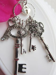 Silver Key Necklace, Alice Inspired Keeper of the Silver Keys Necklace. Key Necklace, Skeleton Key Pendant,Lock and Key Jewelry via Etsy