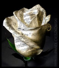 I love the look of this paper rose, but i wish it was a tattoo with the music notes in it. Sheet Music Crafts, Sheet Music Art, Sheet Music Flowers, Music Sheets, Vintage Sheet Music, Sound Of Music, Music Love, Music Music, Book Crafts