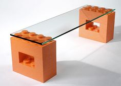 Glass Top Dining Table with Lego Parts Offers Unique Furniture Design Idea