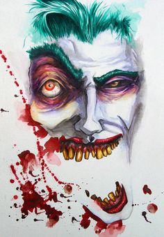 This is a Joker commission I did on bristol with brush and ink, and watercolor. I love the Joker because his madness allows for some experimentation in his shapes. I love trying out crazy sha. Comic Kunst, Comic Art, Comic Books, Joker Kunst, Dc Comics, The Man Who Laughs, Joker Und Harley Quinn, Joker Art, Joker Batman