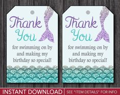 Mermaid Party Favor Tags Printable Mermaid Party Decorations