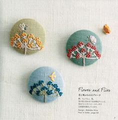 Embroidery & Clay Brooch Patterns Japanese by JapanLovelyCrafts