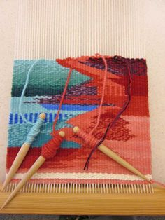 Never thought of running all the colors on spindles doing needlepoint instead of one at a time