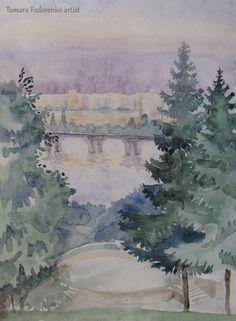 trees, landscape, aquarelle, painting, fir-tree, christmas tree, summer, summertime, kyiv, ukraine, dnipro, dniper river, etude