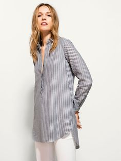 TÚNICA RAYAS CUELLO CAMISERO Jumpsuits For Women, Fashion Beauty, Spring Summer, Tunic Tops, How To Wear, Outfits, Dresses, Fall Winter, Blouses
