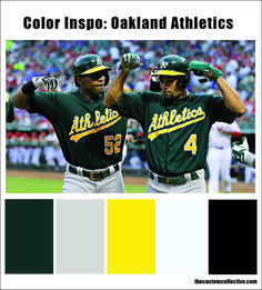 oakland athletics color inspo #oakland #athletics #colors #colorpalettes #colorscheme #california #summer #baseball #mlb #west #WeOwnTheWest