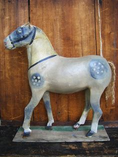 Antique 1800's Horse Hand Painted Paper Mache 89
