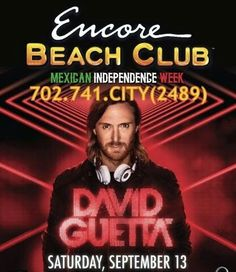David Guetta at Encore Beach Club Las Vegas Saturday September 13th. Contact 702.741.2489 City VIP Concierge for Cabanas, Daybeds, Bungalows Reservations and the BEST of Las Vegas Pool Parties. #EncoreBeachClub #LasVegasPoolParties #VegasPoolParties #LasVegasVIPServices #VegasBottleService #CityVIPConcierge #VegasCabanas CALL OR CLICK TO BOOK www.VegasCabanas.com