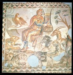 Orpheus playing to the animals, Roman mosaic (mosaic), Roman / Antioch, Turkey / The Bridgeman Art Library