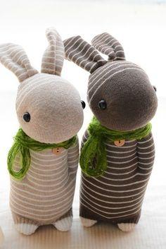 Hand-made natural wind sock dolls ~ Warm Heart khaki striped rabbit / coffee striped rabbit heart-warming