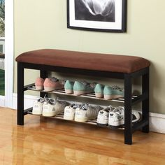 This Hallway Entry Bedroom Storage Bench Shoe Rack Organizer would be a great addition to your home. Can be used as a shoe organizer, bedroom and hall way bench with microfiber fabric. Entryway Bench Storage, Bedroom Storage, Entryway Decor, Foyer, Hallway Bench, Entry Bench, Hallway Cabinet, Storage Benches, Entry Hallway