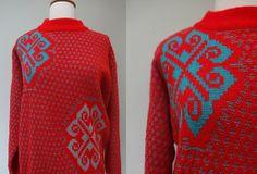 Poppy Girl Sweater // 1980s Oversize Red by KittyHawVintage, $36.00