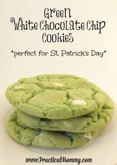 Bake up a delicious, and easy to make GREEN white chocolate chip cookie.