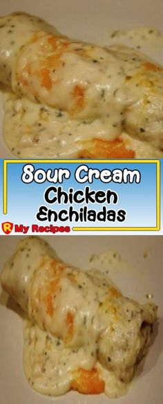 EASY SOUR CREAM CHICKEN ENCHILADAS: Everyone in my family loves it! I could serve it 7 days a week and there would be smiling faces all around the dinner table if I was serving it. But these enchiladas are even better Mexican Dishes, Mexican Food Recipes, Great Recipes, Easy Recipes, Healthy Recipes, Comida Latina, Cream Of Chicken Soup, Sour Cream Chicken Casserole, Creamed Chicken