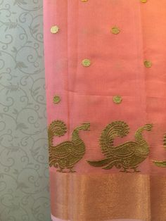 Peach kota saree with woven zari annapakshi