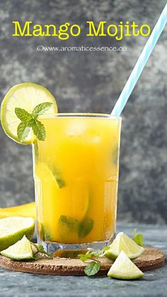 Mojito is a traditional Cuban cocktail, made of 5 ingredients- mint, sugar, lime juice, white rum and club soda. Non Alcoholic Drinks, Cocktail Drinks, Cocktail Recipes, Mango Drinks, Mango Cocktail, Summer Drinks, Fun Drinks, Healthy Drinks, Beverages