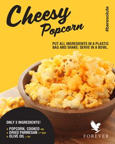 Trying to figure out what to have for lunch today? 🤔 Check out this Cheesy Popcorn recipe below for a low calorie treat, you'll think it's too gouda to be true! Health And Wellness, Health Fitness, Clean 9, Low Calorie Snacks, Natural Facial, Popcorn Recipes, Forever Living Products, Gouda, Better Health