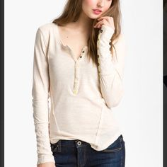 Free People White Lace Trim Henley NWOT Free People White Lace Trim Henley NWOT tag is cut to prevent store return. Never worn. Gorgeous color. Free People Tops Tees - Long Sleeve