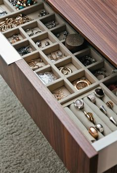 custom cufflink storage built in drawer - Google Search