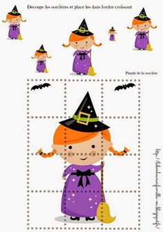 PPP+puzzle+et+découpage+sorcière. Halloween Puzzles, Theme Halloween, Halloween Activities, Diy Halloween Decorations, Scary Halloween, Halloween Snacks, Fall Halloween, Halloween Crafts, Manualidades Halloween