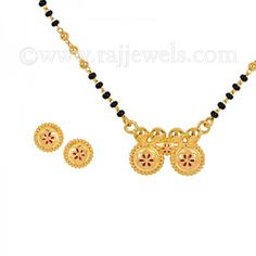 South India's most desirable duo enamel Wati #mangalsutra necklace with stud earrings (3 piece #set ) in 22 karat yellow #gold with black beads chain. - See more at: https://www.rajjewels.com/duo-floral-22-k-gold-wati-mangal-sutra-set.html#sthash.PLCCpKJO.dpuf