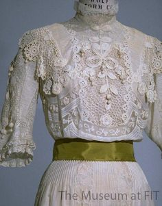 Edwardian style white-on-white summer dress, 1900-1905, USA, Gift of Arne Ekstrom. Collection of The Museum at FIT #TurnofStyle