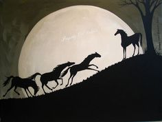 Original Painting Folk Art Full Moon Horses Running Leader Herd Silhouette Tree   eBay  Find prints on Fine Art America and find originals on ebay. Search - folkartmama