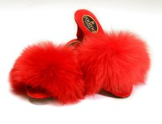With a stylish scooped wedge heel, encased in a luxurious velvet material, topped with a sumptuous sheepskin fur upper, fOOfOOs® are the ultimate designer fluffy fur mule slipper to purchase as a luxurious indoor footwear Red Mules, Women's Mules, Fur Sliders, Wedding Slippers, Fuzzy Slippers, Modern Pin Up, Velvet Material, Fiery Red, Beautiful Lingerie