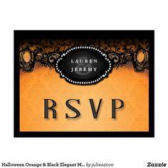 Halloween Orange & Black Elegant Matching RSVP #halloweenwedding #gothicwedding
