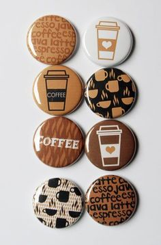 I recently purchased these coffee flair buttons. Perfectly for this coffee lover. Button Maker, Creation Deco, Button Badge, Pin Button, Coffee Set, Coffee Mugs, Coffee Maker, Badge Design, Cute Pins