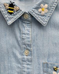 Hand embroidered women's shirt - floral embroidery shirt - bee embroidered collar- handmade embroidery art - embroidered soft denim shirt. Denim Jacket Embroidery, Diy Embroidery Shirt, Embroidered Denim Shirt, Embroidery On Clothes, Simple Embroidery, Embroidered Clothes, Embroidery Fashion, Hand Embroidery Patterns, Floral Embroidery