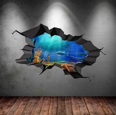 Fish Aquarium Sea Wall Decal Cracked Hole Full Colour Wall Art Sticker Boy Bedroom Decal Mural WSD93                                                                                                                                                      More