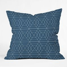 Vy La Blue Hex Throw Pillow #blue #geometric #pattern #bedding #bedroom