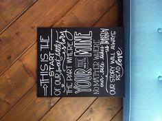 Quote in white on black canvas board - laurenish design