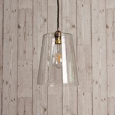 This slightly tapered clear glass pendant combined with the right fitting and bulb strikes a very sophisticated pose Open Plan Kitchen Dining, Kitchen Dining Living, Living Room, Pooky Lighting, Lights Fantastic, Wall Lights, Ceiling Lights, Mason Jar Lamp, Glass Pendants
