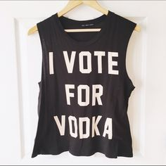 Urban Outfitters I Vote For Vodka Tank Top From urban outfitters. Size medium. Says I vote for vodka. Muscle Tank. Only worn a couple times! No trades. comes from a smoke free home! Urban Outfitters Tops Tank Tops