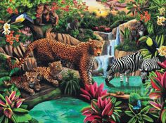 """Jungle Elegance 1000 piece Jigsaw Puzzle    SunsOut Jigsaw Puzzles will provide a challenge for one and all.    Perfect for collectors to mat and frame.    Art by Mary Thompson    Size: 20"""" x 27""""    Made in the USA, by SunsOut.    Eco-Friendly, Soy Based Inks & Recycled Board.    Recommended Ages: 8 and Up    Consumer Product Safety Notice:  WARNING: CHOKING HAZARD  Small parts Not for children under 3 years      SO58289  Regular price: $16.00  Sale price: $14.40 www.afroggyplace.com"""
