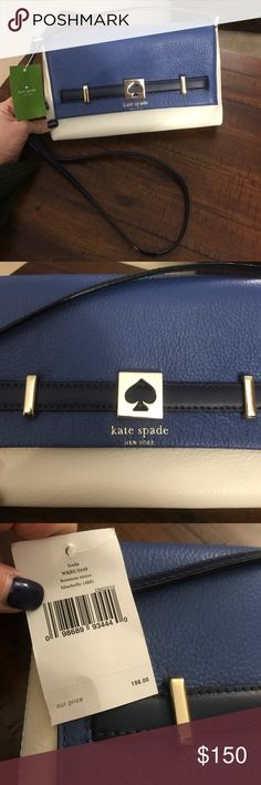 Kate 💙 Spade loula houston street bluebelle Blue cream and gold, such a cool color combo! Cross body, inside zip pocket and phone holder, make me an offer! kate spade Bags Crossbody Bags