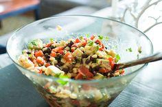 black bean salad with corn, red peppers, avocado & lime-cilantro vinaigrette. gettin' so fresh!