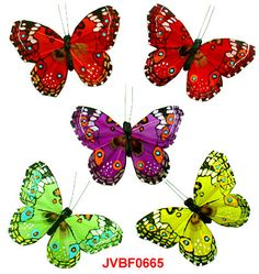 The assorted artificial feather butterflies with featherlet in the middle are the elaborately handcrafted butterflies with exquisite design.Beautiful Artificial Butterflies in assorted colors and sizes! Artifical Butterflies-Decorative Butterflies-Fake-Butterflies-Floral Arrangements-Wedding Decorations
