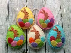 Items similar to Easter bunny eggs, Felt Easter decoration - felt egg with bunny, felt Easter decor, felt Easter eggs - 1 ornament on Etsy Easter Bunny Eggs, Easter Toys, Easter Egg Crafts, Easter Decor, Diy Craft Projects, Felt Ornaments, Handmade Ornaments, Felt Decorations, Felt Patterns