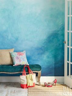 These fresh ideas for wall treatmentsÑlike using #reclaimedwood, painting an #ombre #pattern, or installing a muralÑare guaranteed to liven up your space.